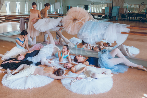 Sept ballet bar étage répétition salle Photo stock © master1305