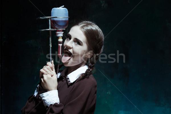 肖像 若い女の子 学生服 吸血鬼 ドロップ ストックフォト © master1305