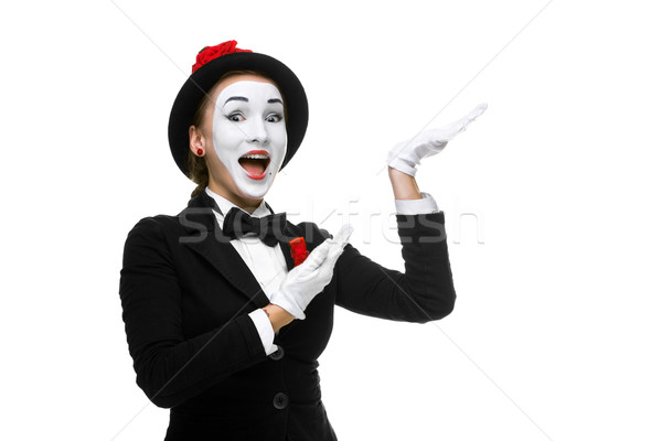 Portrait of the surprised and joyful mime  Stock photo © master1305