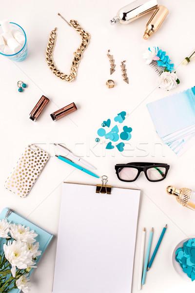 Naturaleza muerta moda mujer azul objetos blanco Foto stock © master1305