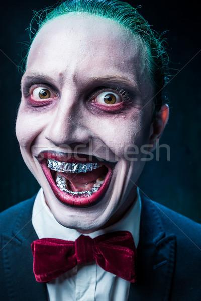 Kanlı halloween çılgın yüz siyah kelebek Stok fotoğraf © master1305