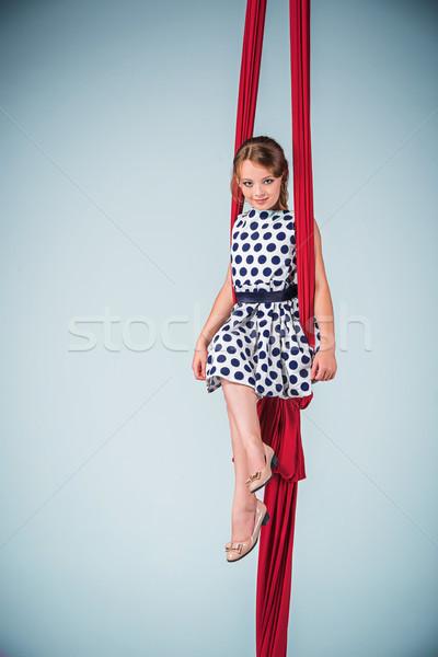 優雅な 体操選手 座って 赤 ドレス ストックフォト © master1305