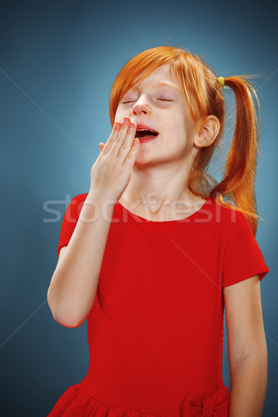 Gyönyörű portré kicsi ásít lány vörös haj Stock fotó © master1305