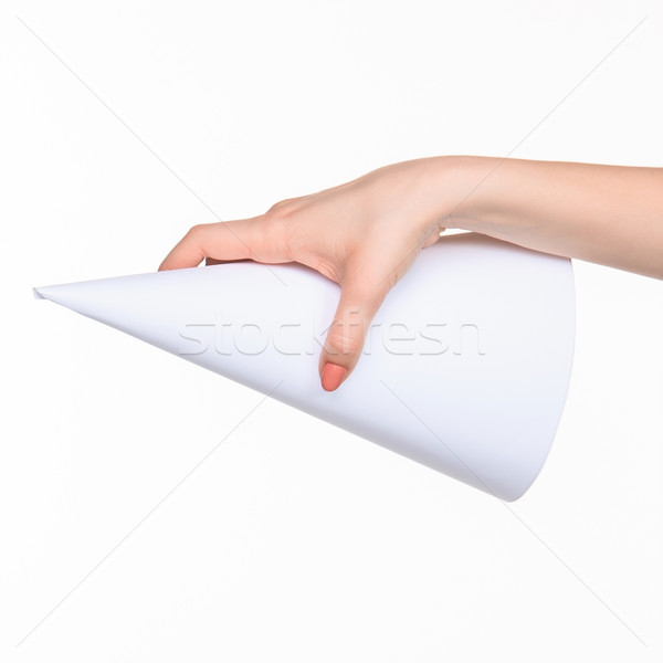 The cone in female hands on white background Stock photo © master1305
