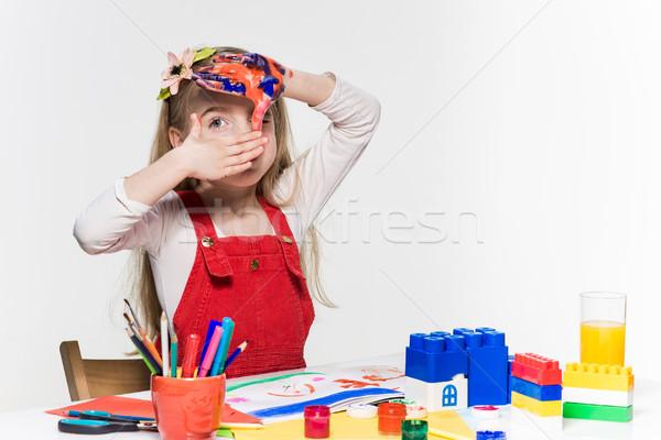 Mooie meisje handen verf witte meisje Stockfoto © master1305