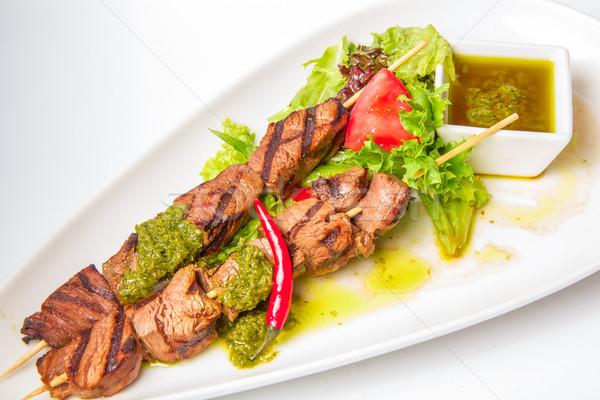 Skewered Meat with and sauce Stock photo © master1305
