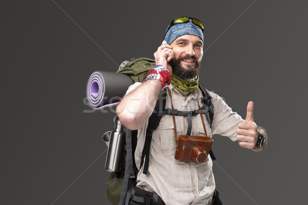 Portrait of a male fully equipped tourist  Stock photo © master1305