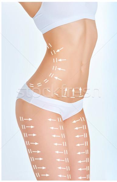 Photo stock: Cellulite · enlèvement · plan · blanche · jeune · femme · corps