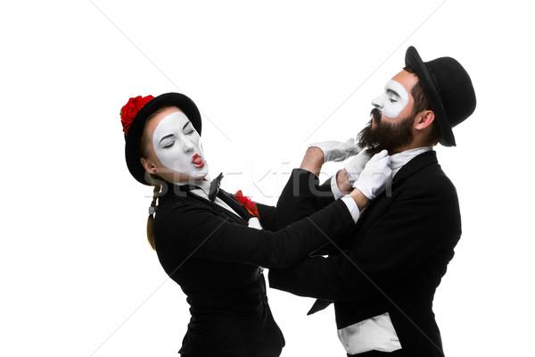 Dwa biznesmenów szef odizolowany biały Zdjęcia stock © master1305