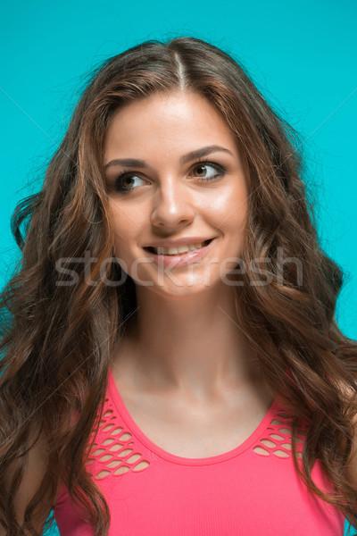 Jovem retrato feliz emoções azul negócio Foto stock © master1305