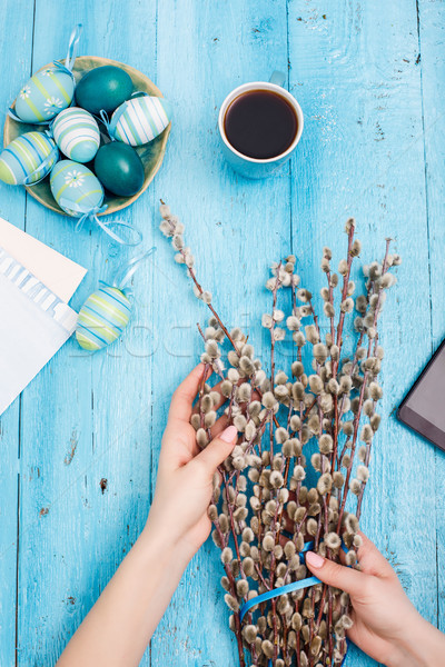 The top view of easter on wooden table office workplace Stock photo © master1305