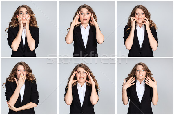 The  collage of young woman's portraites with  different  astonished emotions Stock photo © master1305