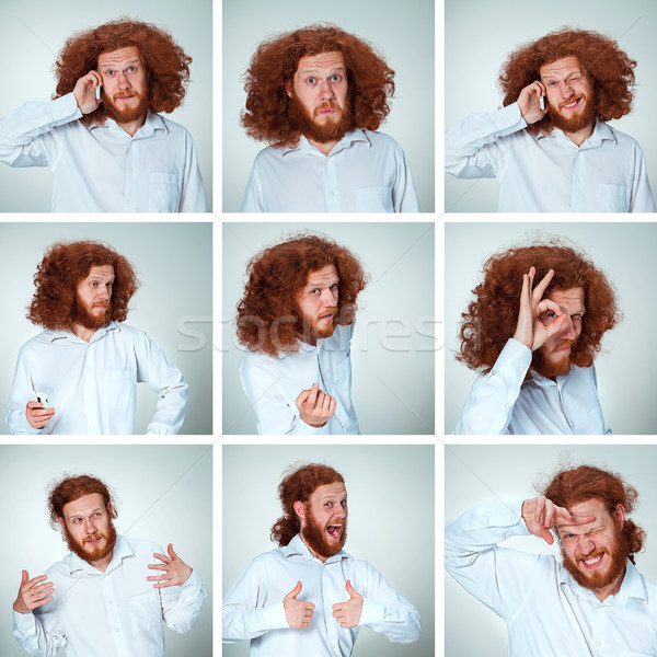 The young man funny face expressions composite on gray background Stock photo © master1305