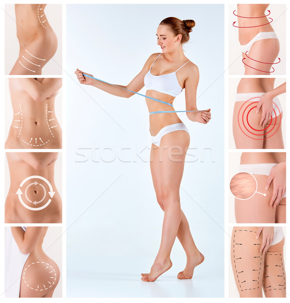 Stock photo: Collage of female body with the drawing arrows