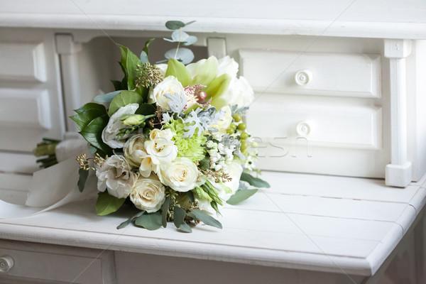 Ramo de la boda blanco rosas superficie flor Foto stock © master1305