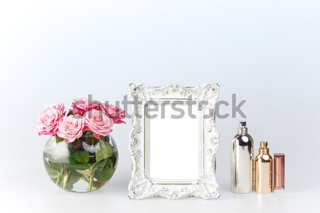 Flowers vase and vintage frame  Stock photo © master1305