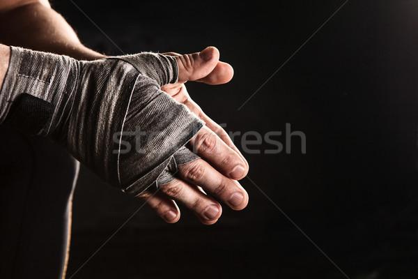クローズアップ 手 筋肉の 男 包帯 訓練 ストックフォト © master1305