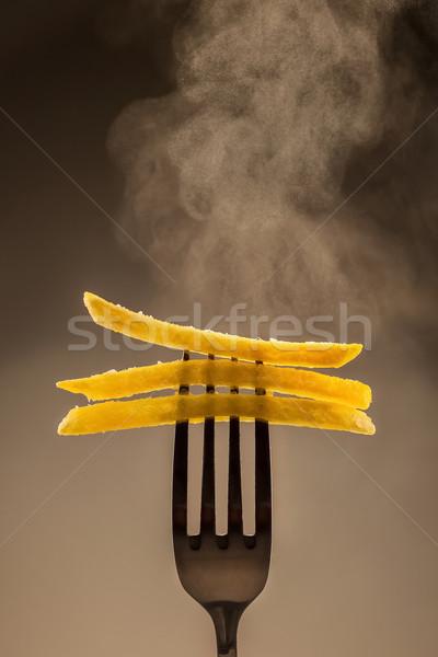 Stock fotó: Sültkrumpli · villa · forró · szürke · eszik · gyors