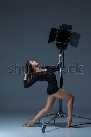 美しい バレリーナ ポーズ 青 スタジオ フラッシュ ストックフォト © master1305