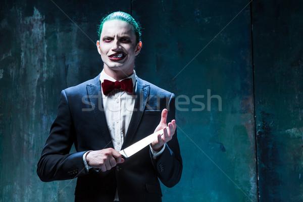 Véres halloween őrült arc fekete kés Stock fotó © master1305