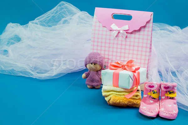 The baby clothes with a  white gift box Stock photo © master1305