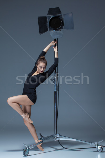 Foto d'archivio: Bella · ballerina · posa · blu · studio · flash