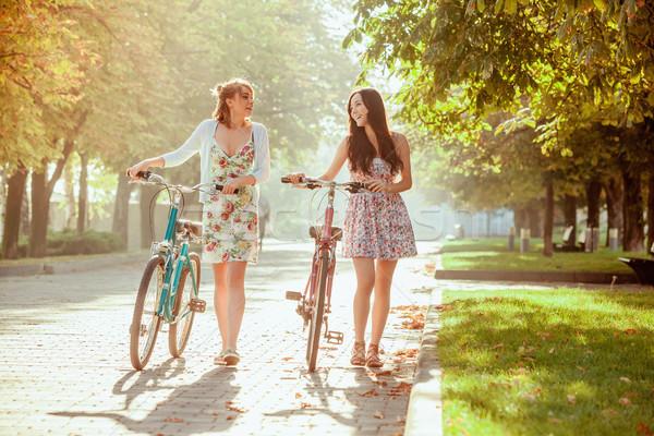 Dwa młodych dziewcząt rowery parku lata Zdjęcia stock © master1305
