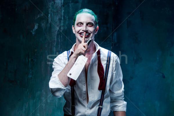 Bloody Halloween crazy Gesicht schwarz Mann Stock foto © master1305