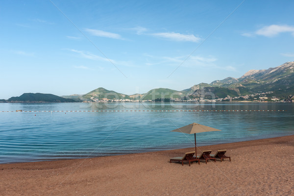 Beautiful beach with sunshades in Montenegro, Balkans Stock photo © master1305