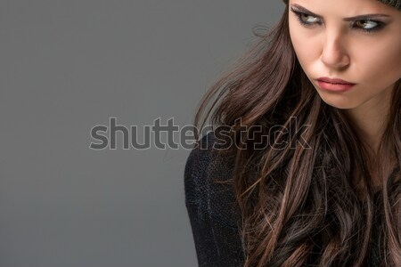 Сток-фото: несчастный · красивой · серый · женщину · фон