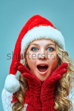 肖像 少女 サンタクロース 帽子 驚いた 幸せな女の子 ストックフォト © master1305