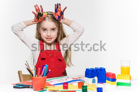 Young woman in image of squirrel with large pencils Stock photo © master1305