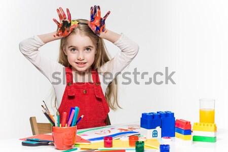 Genç kadın görüntü sincap büyük kalemler eğitim Stok fotoğraf © master1305