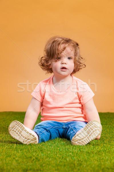 Uno cute naranja funny sonrisa Foto stock © master1305