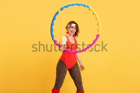 Genç jimnastik dans şerit saç renkli Stok fotoğraf © master1305