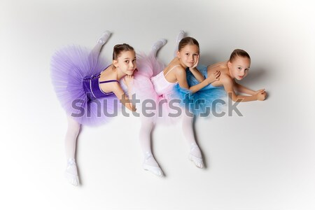 Stock photo: Three little ballet girls sitting in tutu and posing together