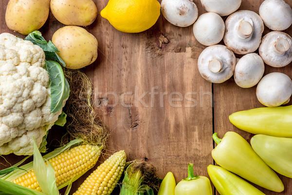 Tarka zöldségek fa asztal szett copy space kép Stock fotó © master1305