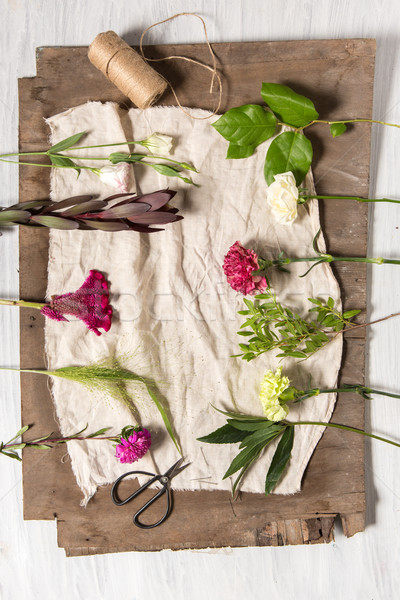 Fleurs blanche bois différent Pâques bois Photo stock © master1305