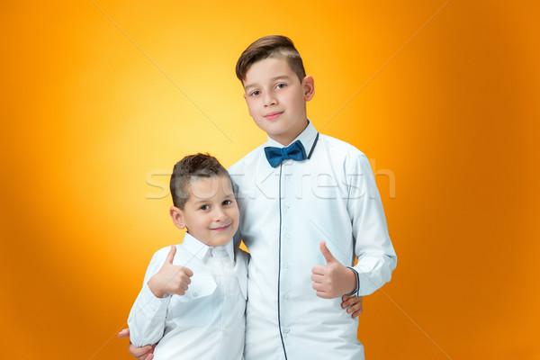 счастливым детей знак вызывать Сток-фото © master1305