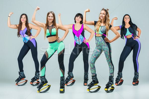 The group of girls, jumping on kangoo training Stock photo © master1305