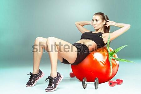 Sportos nő aerobik testmozgás paradicsom fitnessz Stock fotó © master1305
