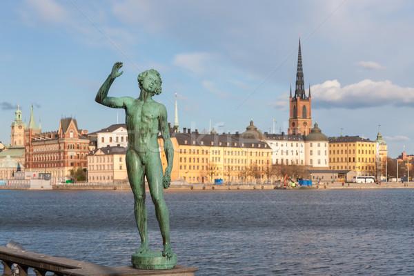 Kilátás óváros Stockholm Svédország égbolt épület Stock fotó © master1305
