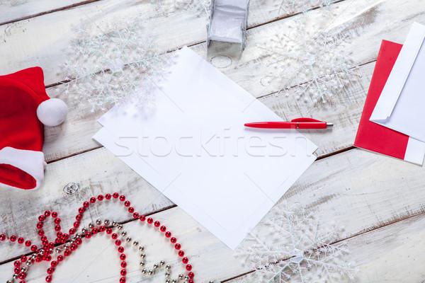 Stok fotoğraf: Levha · kâğıt · ahşap · masa · kalem · Noel · süslemeleri
