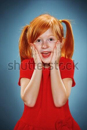 Zdjęcia stock: Piękna · portret · zdziwiony · dziewczynka · czerwona · sukienka