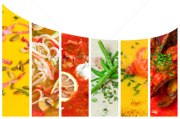 Collage from photos of soups puree  Stock photo © master1305
