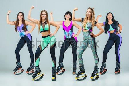 The group of girls, jumping on kangoo training Stock photo © master1305