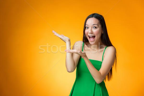 Mutlu Çin kız sarı genç Stok fotoğraf © master1305