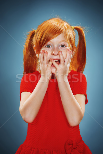 красивой портрет удивленный девочку красное платье Сток-фото © master1305