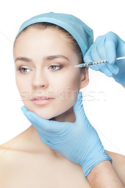 Chirurgia plastica siringa faccia bianco mano Foto d'archivio © master1305
