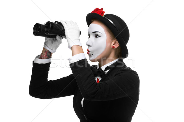 Portrait of the searching mime with binoculars Stock photo © master1305